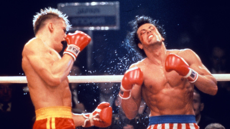 Dolph Lundgren and Sylvester Stallone in Rocky IV