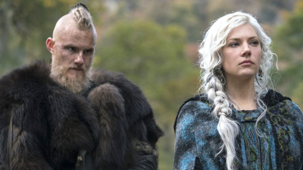 Alexander Ludwig and Katheryn Winnick as Bjorn Lothbrok and Lagertha