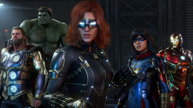 Thor, Hulk, Black Widow, Ms Marvel, and Iron Man in Marvel's Avengers
