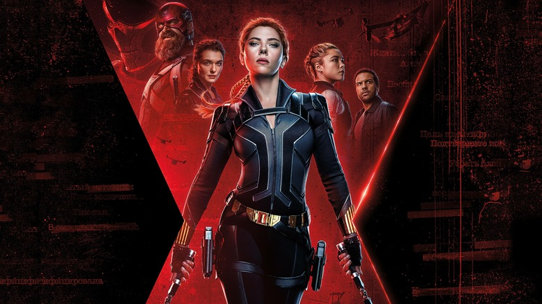 Promo poster art featuring the cast of Black Widow