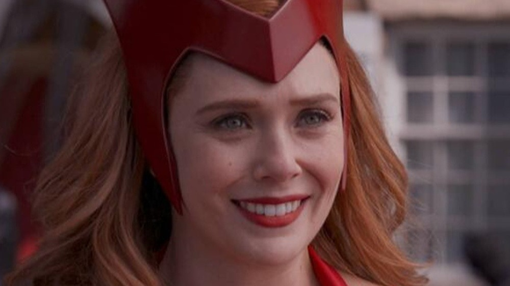 Wanda Maximoff in her Scarlet Witch Halloween costume