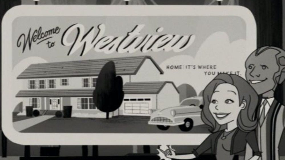 An animated Wanda and Vision stand beside a Westview billboard