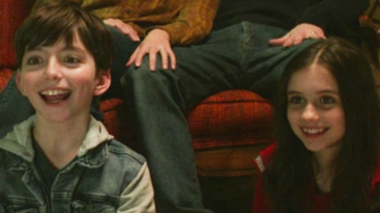 Young Pietro and Wanda smiling