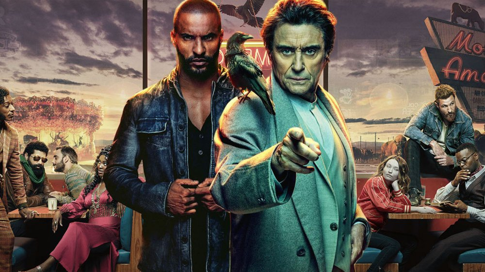 Ricky Whittle and Ian McShane as Shadow and Wednesday on American Gods