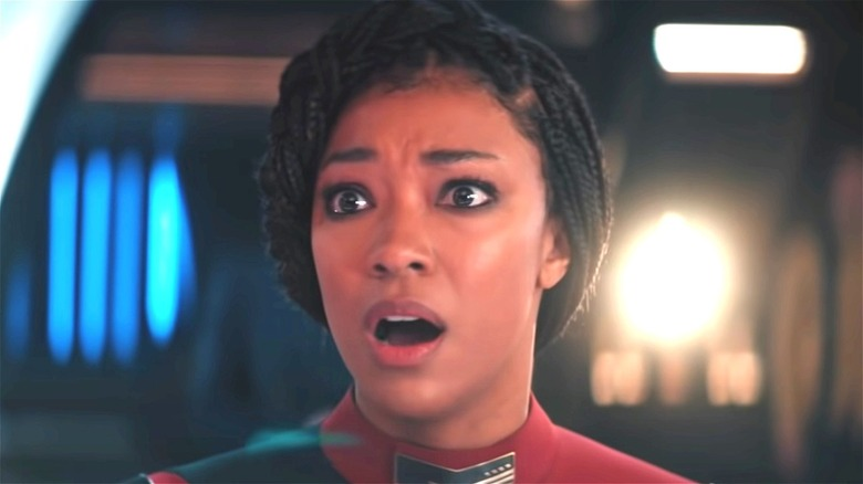 Discovery's Burnham looking shocked on Star Trek: Discovery