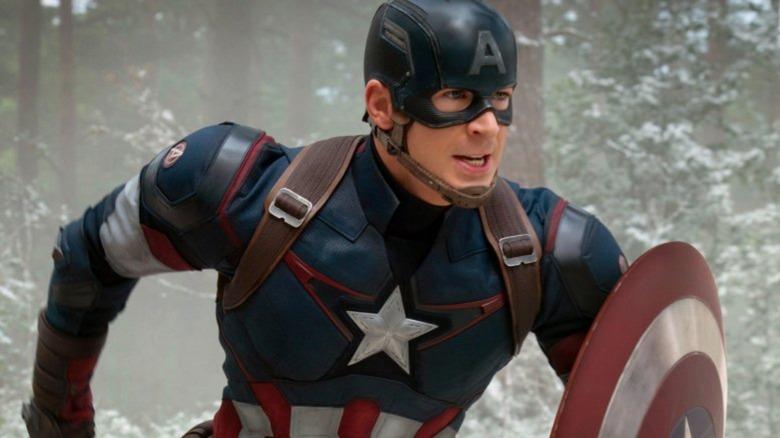 Steve Rogers (Chris Evans) suited up as Captain America