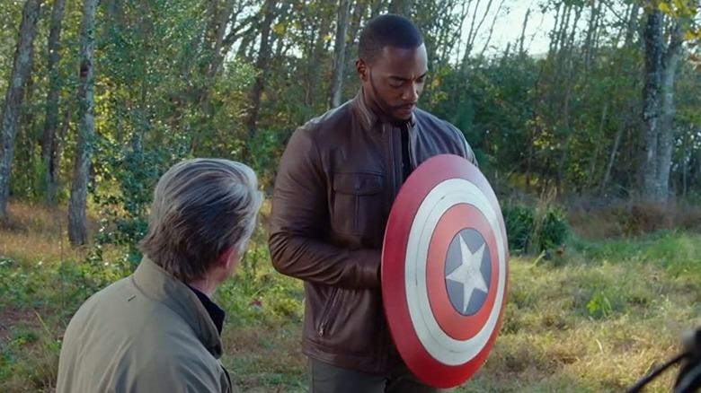 Chris Evans as Steve Rogers and Anthony Mackie as Sam Wilson in Avengers: Endgame