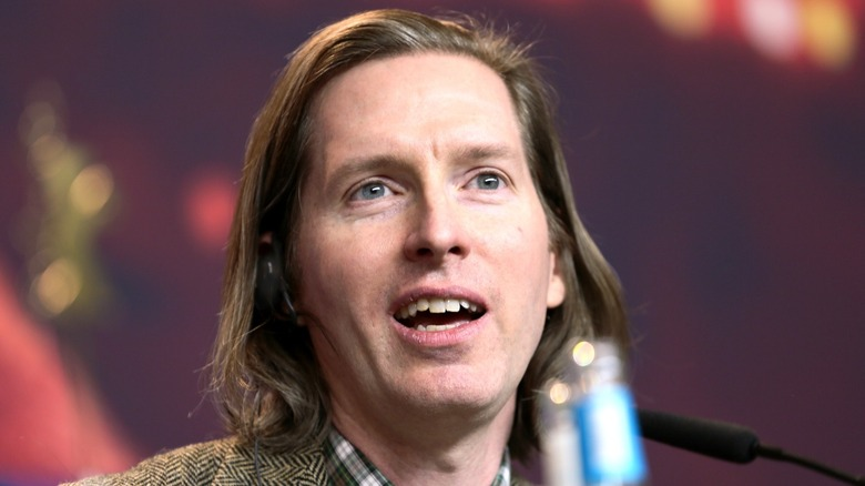 Director Wes Anderson speaking at event