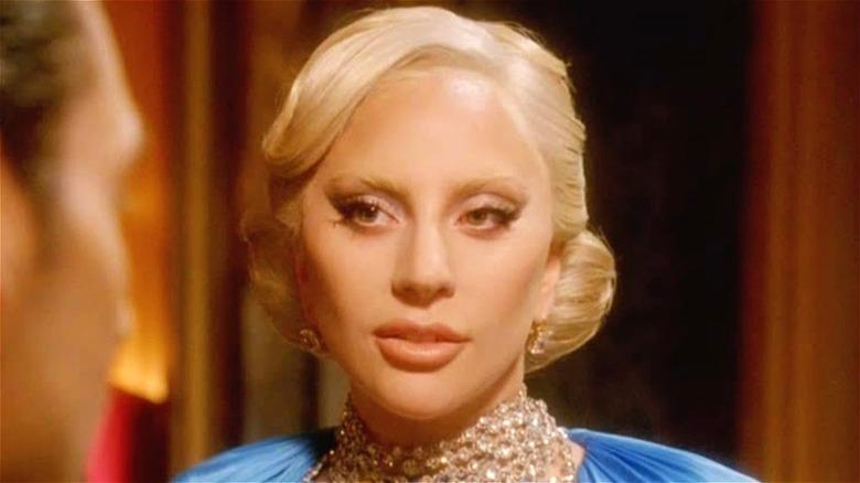 Lady Gaga wearing a blue dress