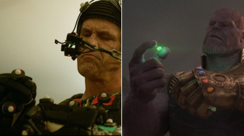 Split image of Josh Brolin/Thanos putting the Time Stone in the Infinity Gauntlet