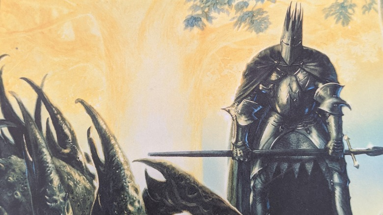 Morgoth stands next to the Two Trees
