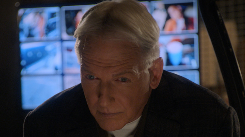 Jethro Gibbs looking down in NCIS