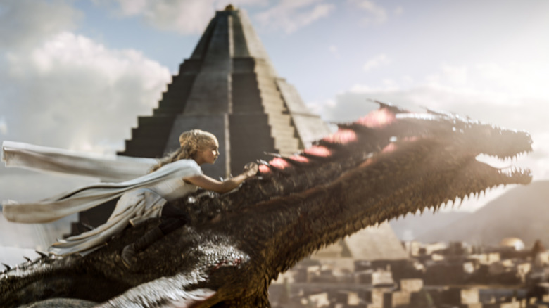 Dany rides a dragon on Game of Thrones