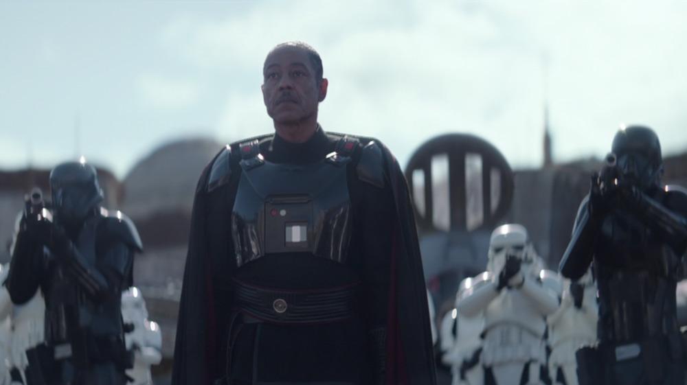 Giancarlo Esposito as Moff Gideon with Stormtroopers on The Mandalorian