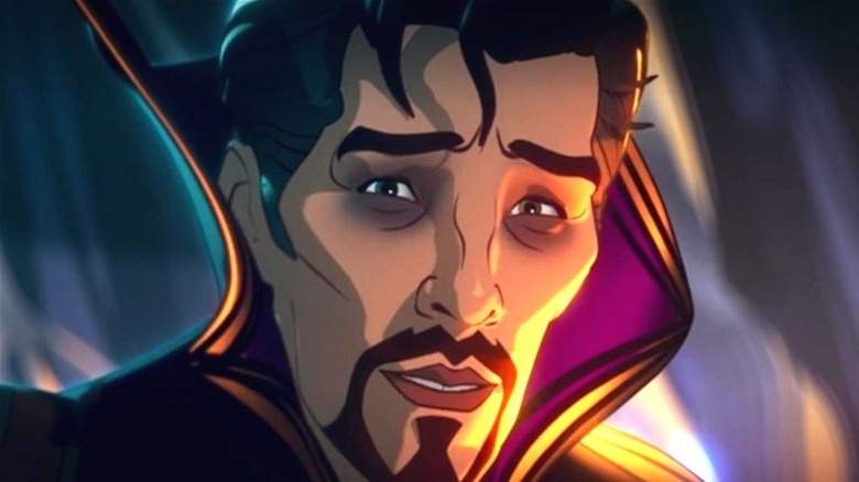 Stephen Strange with a regretful expression on his face