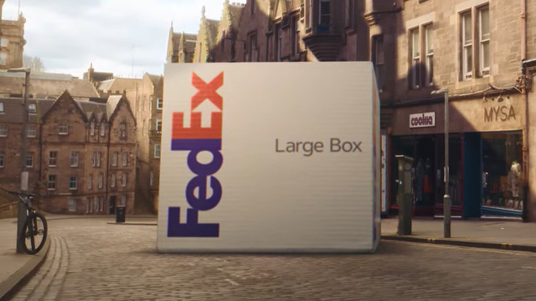 Large FedEx Box cobblestone street