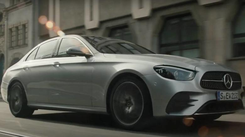 Mercedes-Benz 2021 E-Class drives down the street