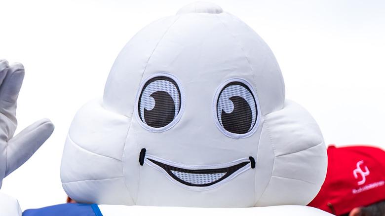 Man in Michelin Man costume