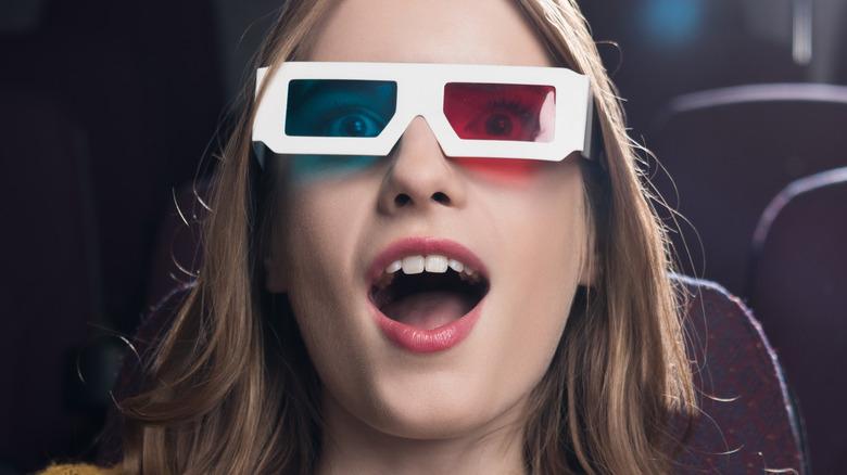 Woman wearing 3D glasses