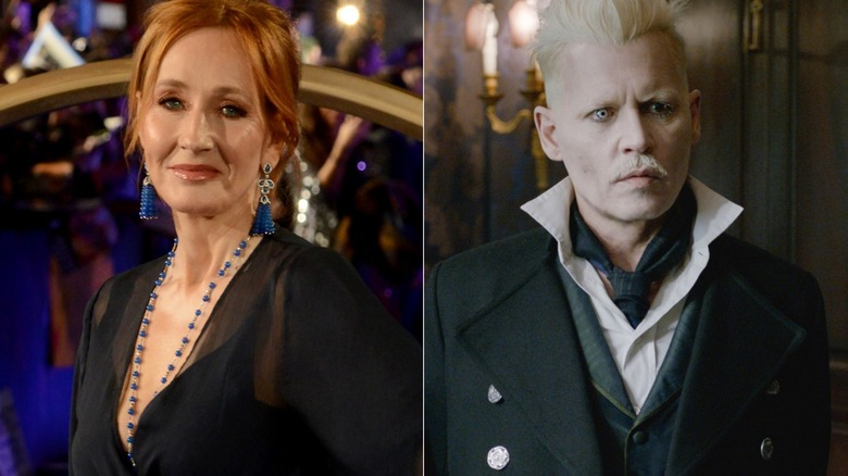 J.K. Rowling and Johnny Depp as Grindelwald in Fantastic Beasts