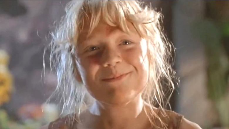 ECU of young Ariana Richards smiling as Lex in Jurassic Park