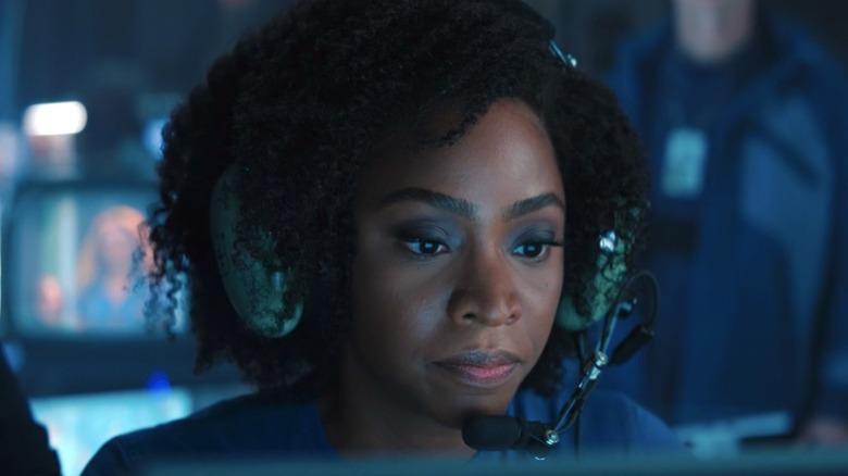 Monica Rambeau piloting drone wearing headset