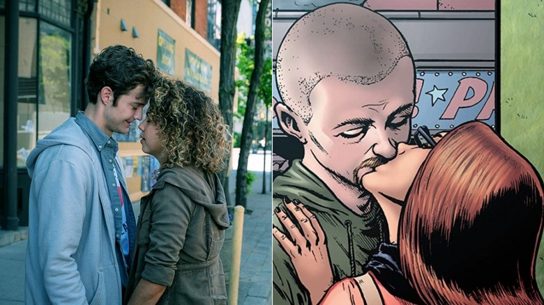 Jack Quaid as Hughie Campbell and Jess Salgueiro as Robin Ward on The Boys and in Garth Ennis and Darick Robertson's comic