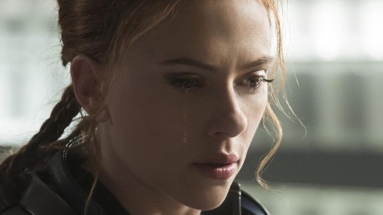 Scarlett Johansson as Natasha Romanoff crying