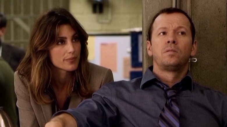 Jennifer Esposito and Donnie Walhlberg in Blue Bloods