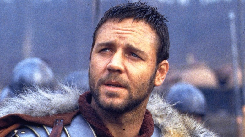 Russell Crowe squints in Gladiator