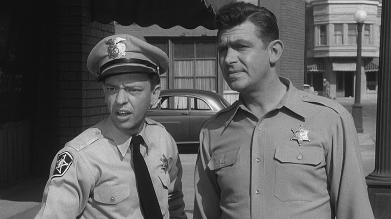 Andy and Barney standing in Mayberry
