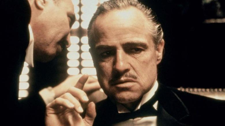Marlon Brando as Vito Corleone and Salvatore Corsitto in The Godfather