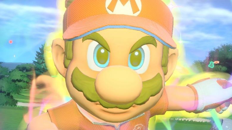 Mario glowing on the green