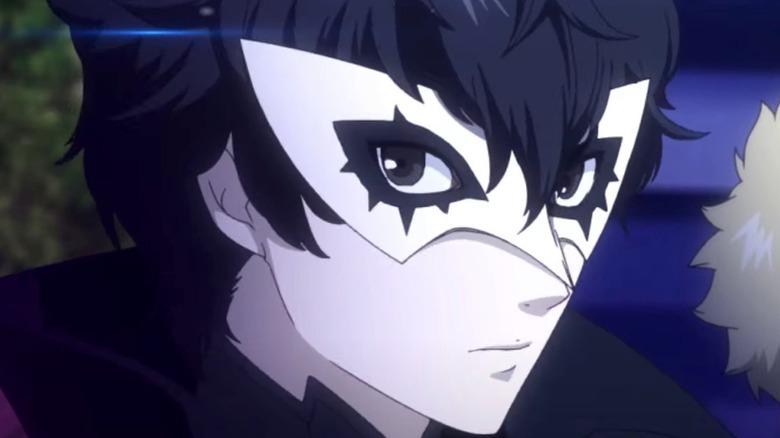 Joker wearing white domino mask