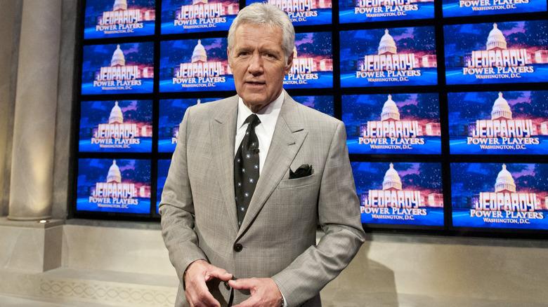 Alex Trebek on the set of Jeopardy's Washington D.C. special