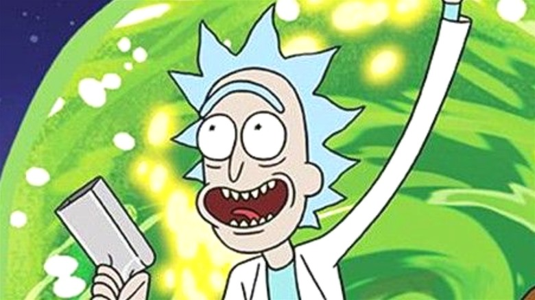 Rick in front of green portal