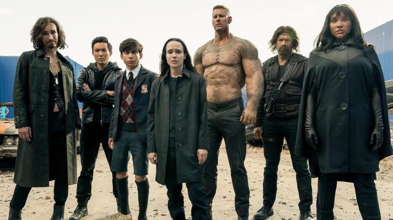 The cast of Netflix's Umbrella Academy filming season 2