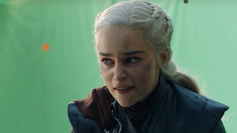 Emilia Clarke channeling rage on a mechanical dragon