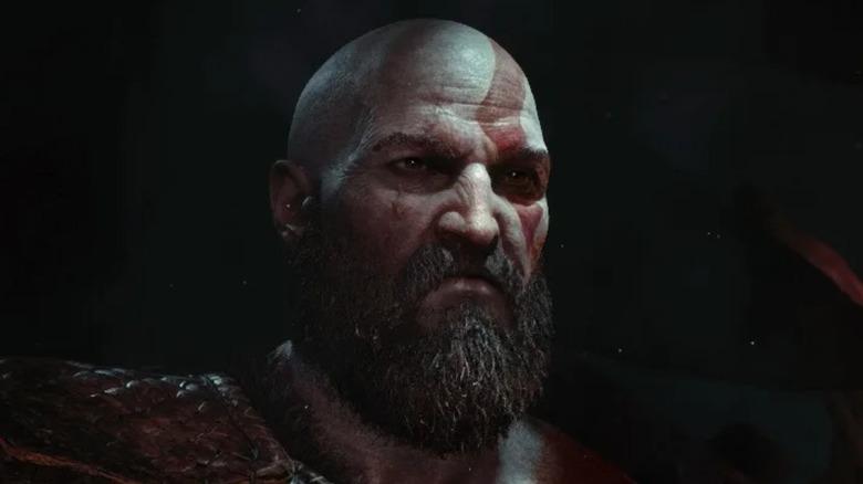 Kratos God of War scowling