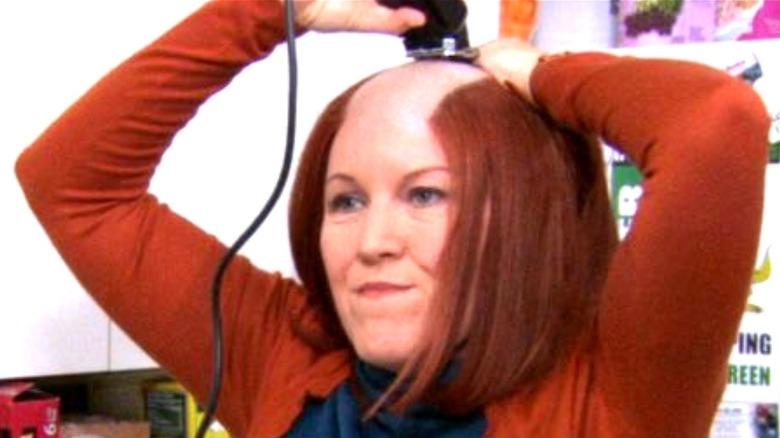 Meredith shaving her head