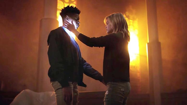 Olivia Holt as Tandy Bowen and Aubrey Joseph as Tyrone Johnson in Cloak & Dagger