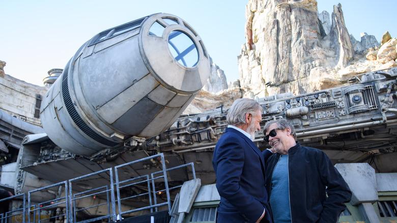 Harrison Ford and Mark Hamill at Galaxy's Edge Disneyland