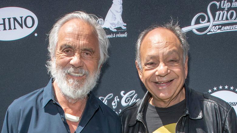 Cheech and Chong posing for photo
