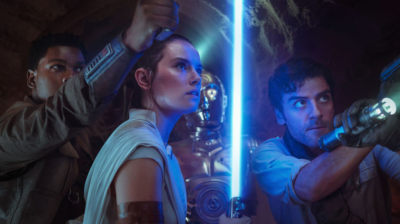 John Boyega, Daisy Ridley, and Oscar Isaac in Star Wars: The Rise of Skywalker