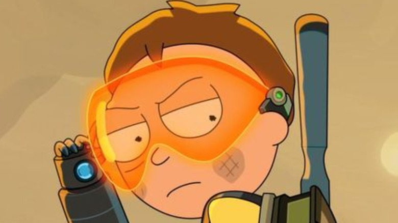 Morty wearing space goggles