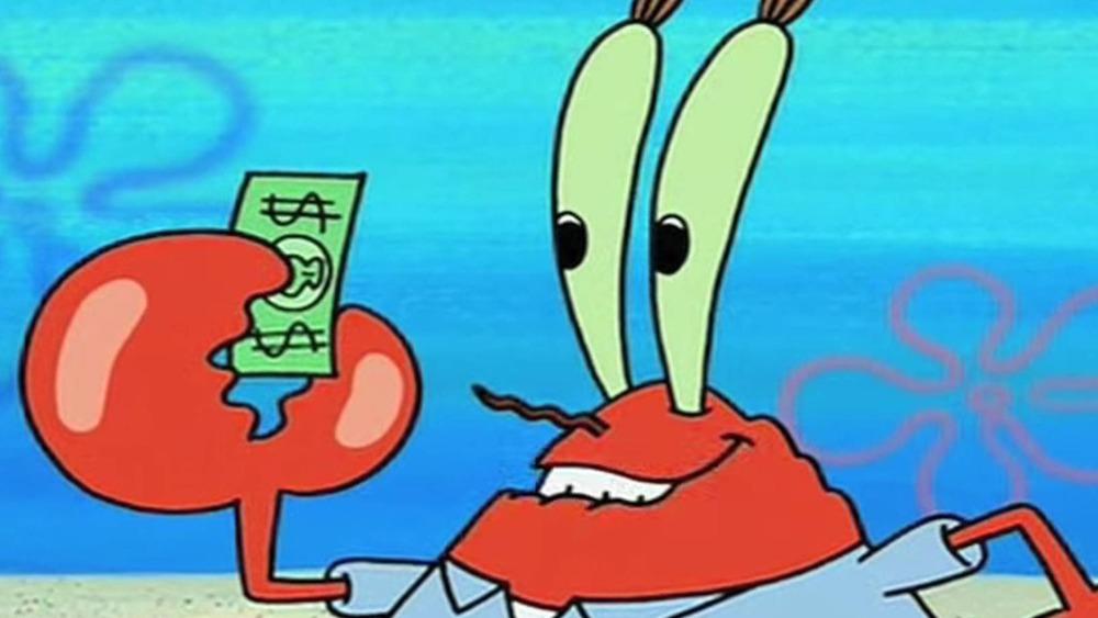 Mr. Krabs holding money