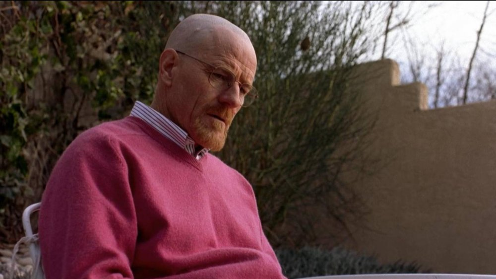 Walter White wearing an out-of-character pink sweater