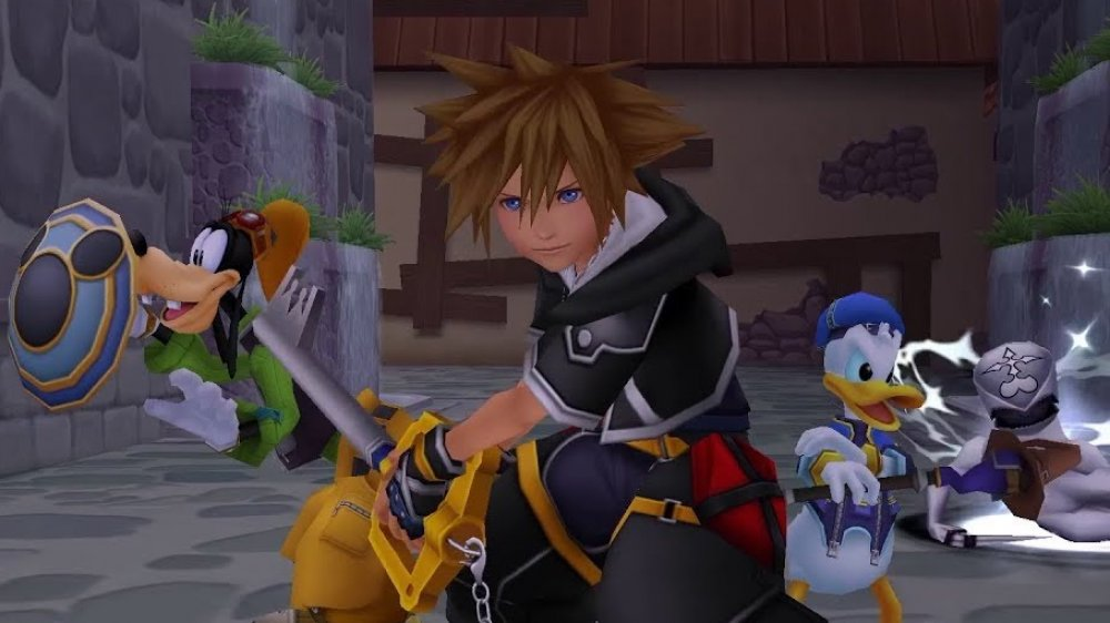 Sora leads Goofy and Donald Duck in Kingdom Hearts 3