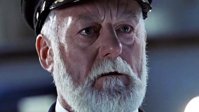 Bernard Hill as Captain Smith in close-up