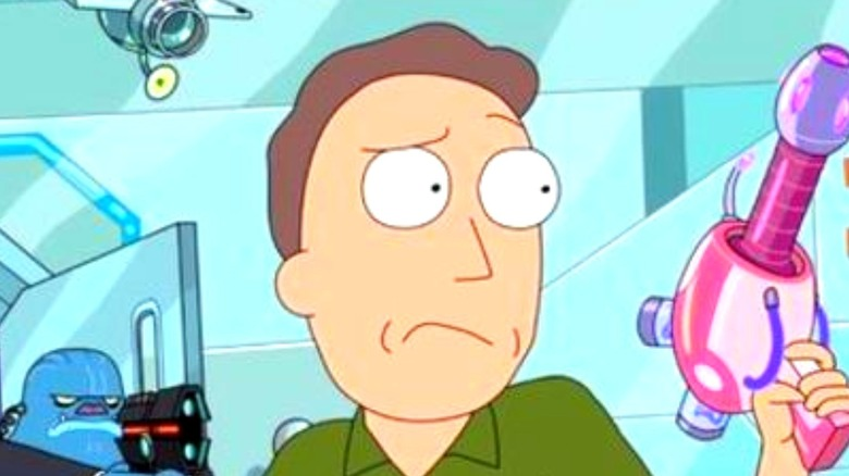 Jerry Smith from Rick and Morty with blaster